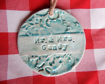 Vintage Style Wedding Ornament, Newlywed Ornament, Anniversary Couple