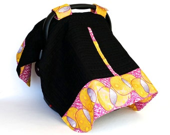 Pink & Black Canopy – Handmade One of a Kind Pink Yellow Print and  Knit Baby Car Seat Cover