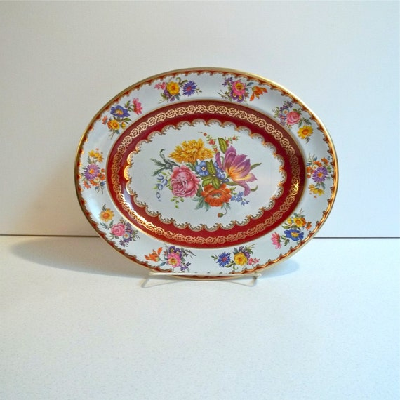 Daher Floral Tin Tray Made In England Decorated Ware Jerusalem House
