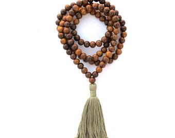 Handmade Tibetan Buddhist Mala Beads, 108 Brown Meditation Necklace, Olive Green Tassel, Wood Prayer Beads- COMPASSION