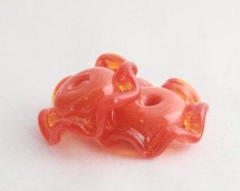 Orange Lampwork Glass Ruffle Beads Pair Earring Jewelry Making Supplies