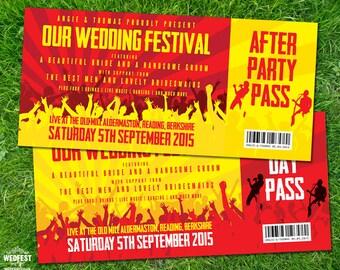 Concert Ticket Wedding Invitations (sample pack) | Festival Ticket Invites | Festival Bride | Music Wedding | Rock N Roll Brides