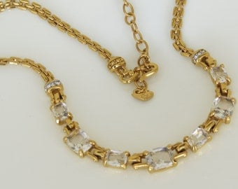 Elegant Vintage Swarovski Crystal Rhinestone Necklace Signed Swan Costume Jewelry FREE SHIPPING