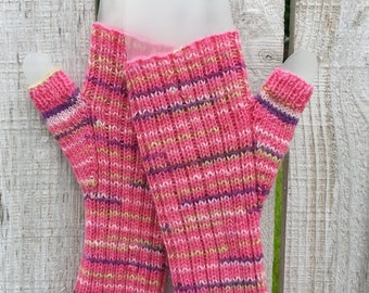 Hand Knit Fingerless Gloves, Hand Knit Fingerless Mitts, Knit Gloves, Fingerless Gloves in Pink with Light Pink, Purple and Green