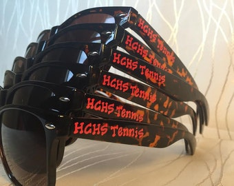 Personalized tennis sunglasses for Tennis camp/tennis match/Cheer Camp/Dance Team/Cheerleading Team Sunglasses for Nationals/Competitions