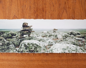 Inukshuk Panoramic 7x23 inch giclee fine art photography print with torn edge