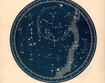 Large Old NORTH POLE Constellations  Northern Zodiac Star Chart Print Six size options