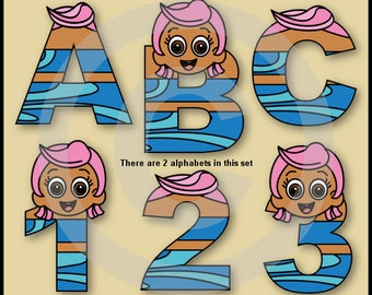 Molly (Bubble Guppies) Alphabet Letters & Numbers Clip Art Graphics