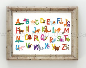 Alphabet Poster - Nursery Wall Art - Playroom Poster - Alphabet Wall Art - Alphabet Nursery Art - Alphabet Nursery - Nursery Art - 22-0013