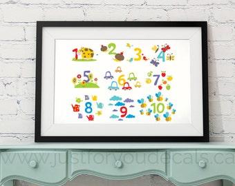 Educational Poster, Number Poster, Nursery Wall Art, Playroom Poster, Number Wall Art, Number Nursery Art, - Nursery Art - 29-0001
