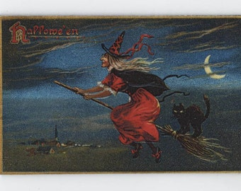 Halloween, magnet, vintage Halloween reproduction, witch, black cat