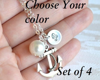 Anchor necklace set of 4 four Personalized Bridesmaid Jewelry with initial Flower girl jewelry bridesmaid gift Best Friend necklace