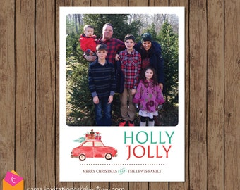Retro Christmas Card - Family Photo Holiday Card - Holly Jolly - Car - Christmas Tree - Choose Digital or Printed with Envelopes