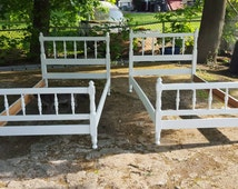 SPRING SALE Vintage Matching Pair Ethan Allen Twin Beds Painted Furniture With Rails Cottage Beach Decor Kids Room