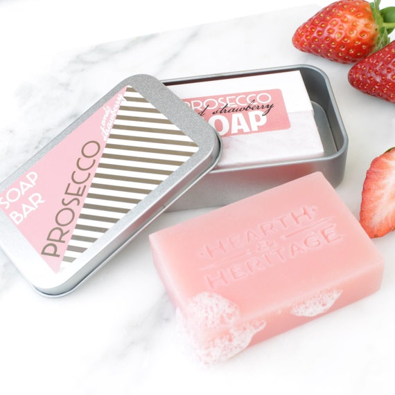 prosecco and strawberry soap
