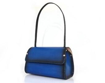 Leather bag women's shoulder bag hand made & hand stitched tote bag custom initials