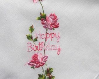 Vintage Happy Birthday Hankie; birthday wishes