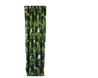 Indoor Outdoor Rod-Pocket Curtain Drapery Panel made in Tommy Bahama Swaying Palms Aloe Green Fabric
