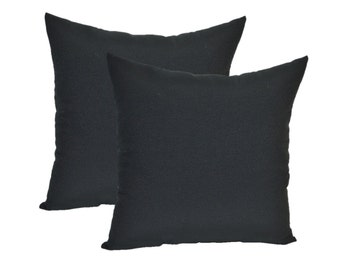 "SET OF 2 Pillow Covers  - 20"" Indoor / Outdoor Solid Black Decorative Pillow Covers"