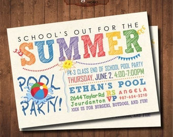 School Out Pool Party Invitation. Summer party. DIY card. Digital Printable card