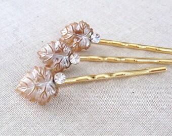 Vintage pearl leaf bobby pins, swarovski, leaves, leaf, jewelry, hair pin, set, wedding, bridesmaid, gift, vintage, something old, bridal
