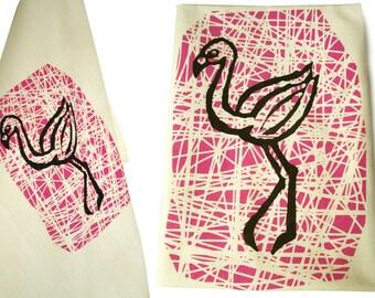 Flamingo, tea towel, organic cotton. Screen printed by hand.