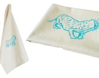 Naked mole rat. Tea towel, organic cotton. Screen printed by hand.