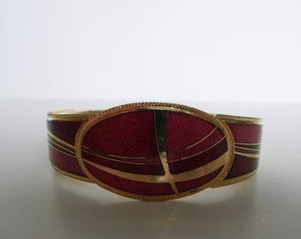 Vintage modernist cloisonne red and gold enamel  bracelet