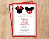 Oh TWO-dles 2nd Mickey or Minnie Mouse Birthday Invitation . Modern Birthday Invitation . Digital File . PDF or JPEG File . Print yourself.