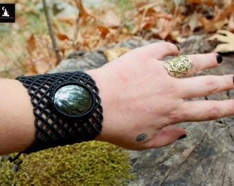 Hematite Macrame Bracelet, Black Fishnet bracelet, Gothic Macrame Bracelet, Goddess Macrame Bracelet, ready to ship