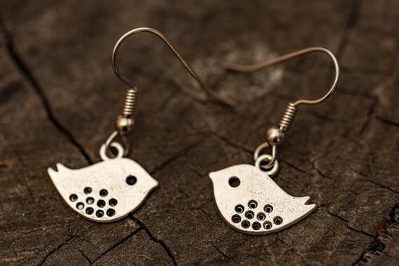 FREE SHIPPING - Surgical Steel Dangle Earrings - Bird Charm Earrings