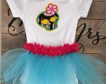 Blue Sugar skull appliqué embroidered bodysuit tutu party outfit, Day of the Dead baby girl clothes, Dia de los Muertos baby girl clothing