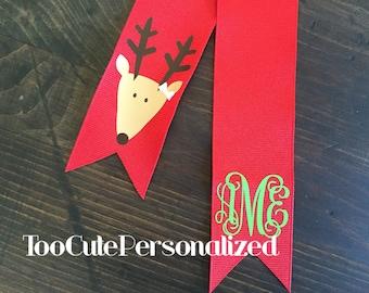Monogrammed Reindeer Hair Ribbon