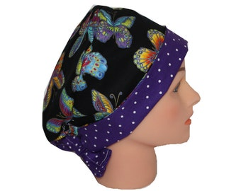 Scrub Hat Surgical Scrub Cap Chemo Hat Flirty Front Fold Pixie Style Purple Blue Yellow Green Red Black Butterfly Dots 2nd Item Ships FREE