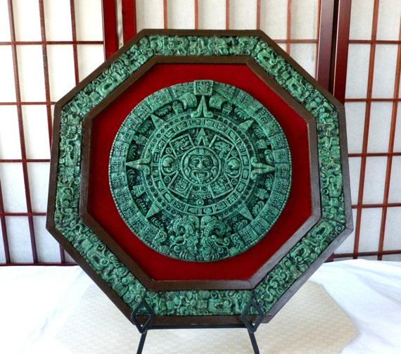 Large Aztec Solar Sun Calendar Wall Hanging Jade Green Stone