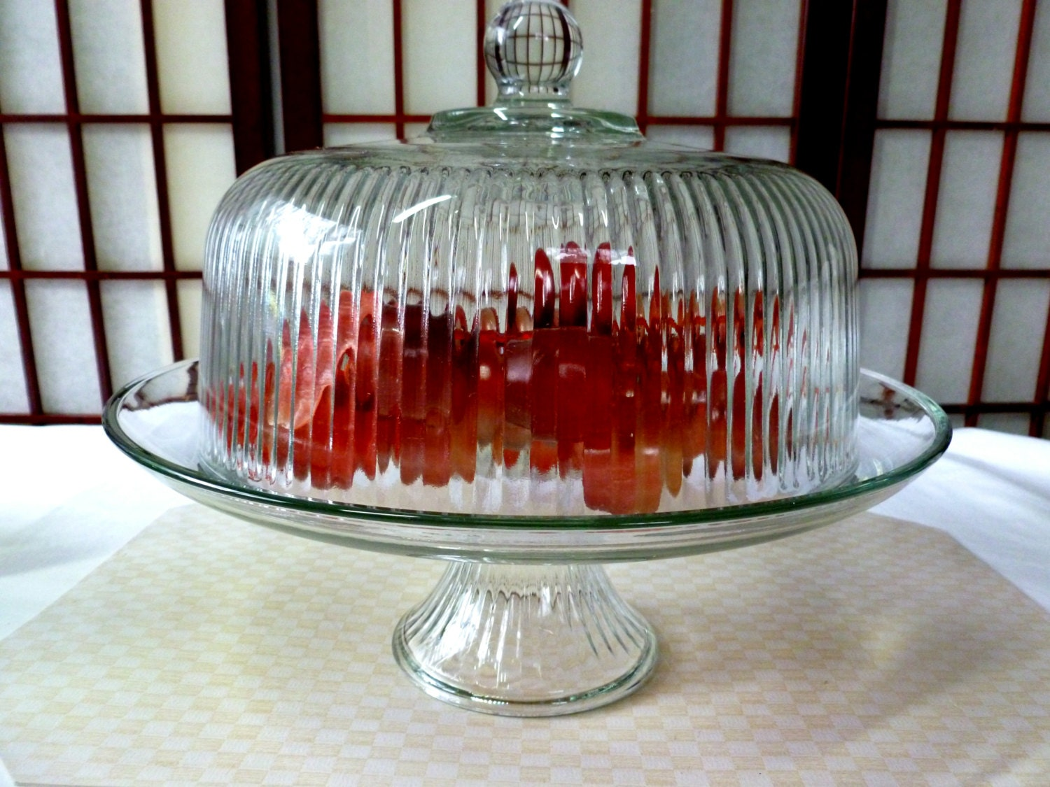 Vintage 12 5 Crystal Clear Glass Raised Cake Stand With