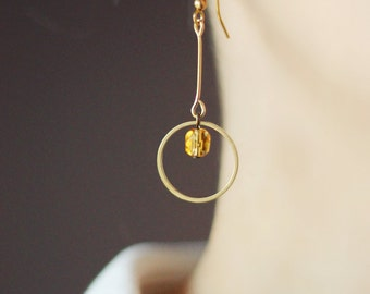 Minimalistic Dangle Earrings, Raw Brass Earrings, Beaded Earrings, Ring Earrings, Simple Earrings, For Every Day,Birthday Gift for her,Brass
