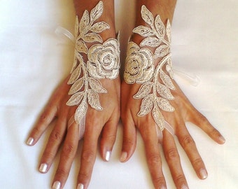 cappuccino Wedding gloves free ship happiness rose  bridal gloves  fingerless lace  gloves  cappuccino gloves french lace gloves free ship