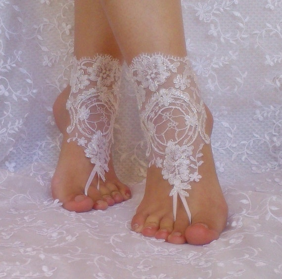 Free Ship bridal bangle white silvery  beach wedding barefoot sandals