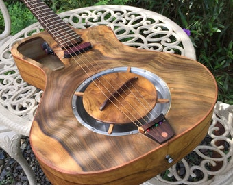 """Electro acoustic Resonator guitar Handmade Luthier fanned fret """"Raulo"""""""