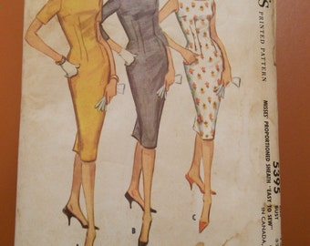 McCalls 5395 Sheath Dress Kick Pleat Vintage Sewing Pattern 1960s 60s Size 12 Juniors
