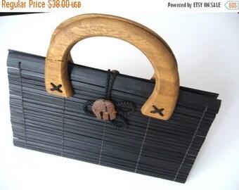 CLEARANCE %40 OFF Wooden clutch Asian/Black handbag wooden