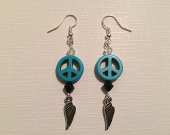 Peace Sign Winged Dangles