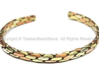 Tibetan 3 Metals (Brass, Copper, White Metal) Braided Adjustable Bracelet Cuff- Unisex Cuff- Tibetan Jewelry by TibetanBeadStore- C113