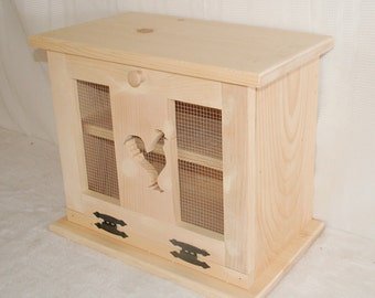 Wooden Bread Box with Rooster Cut Out Decor on the Front