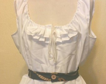 Steampunk Inspired Ruffle Shirt  with Draw String Neckline