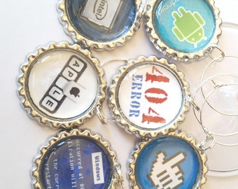 Computer Nerd Wine Glass Charms, Wine Charms, Geekery, Tech Gift, Wine Charms, Party, Wine Tags, Geek Speak, Technology, Geek Gift For Her