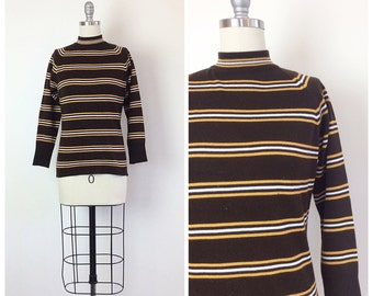 60s Brown And Yellow Striped Sweater - 1960s Vintage Mod Turtle Neck -  Medium - Size 6