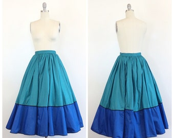 50s Teal and Blue Handmade Circle Skirt / 1950s Vintage Cotton Color Block High Waisted Skirt /  Small / Size 4