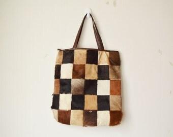 vintage brown pony hair leather patchwork plaid block tote shopper bag // 60s 70s